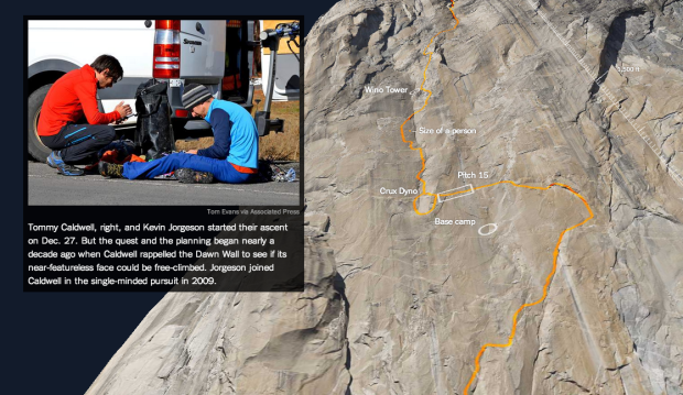 3-D model to show free-climb route