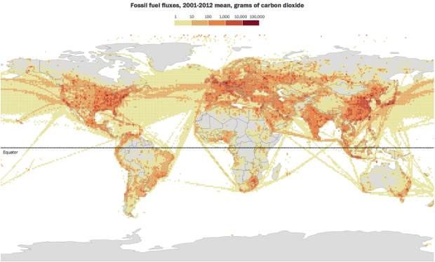 Map of global carbon emissions